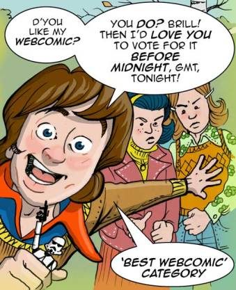 A cartoon of Jack inviting readers to vote for Between Wars comic