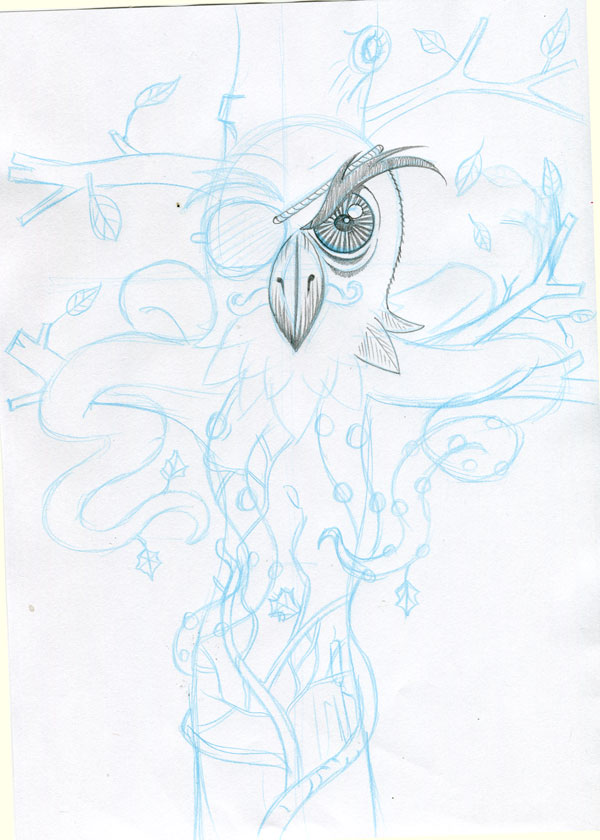 Initial blue pencil stage of the Mr. Ivy Owltopus illustration by Irish Artist & Illustrator, John I. White