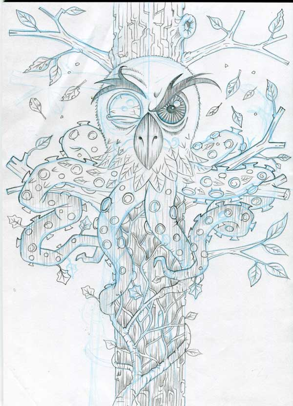 Graphite pencil stage of the Mr. Ivy Owltopus illustration by Irish Artist & Illustrator, John I. White