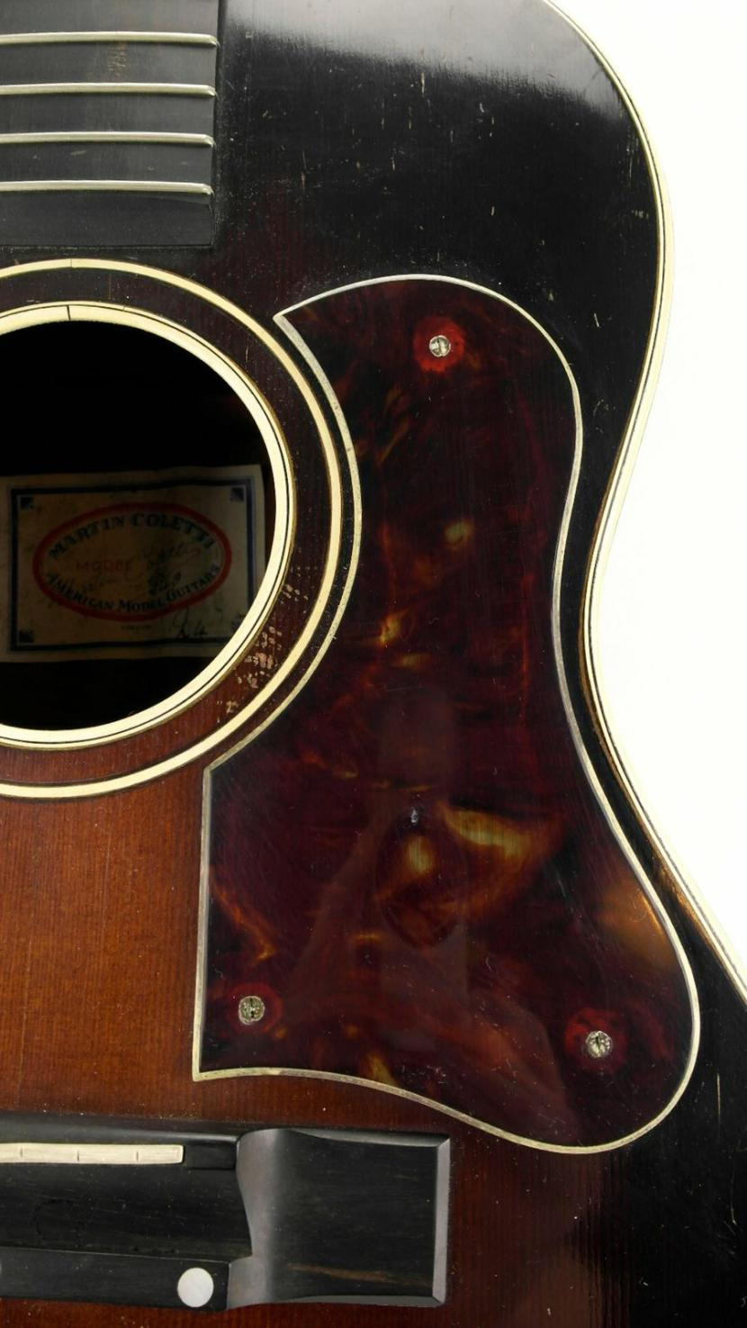 Martin Coletti G40 guitar top, soundhole, pickguard and bridge